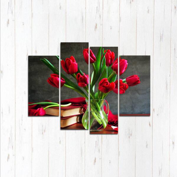 Модульная картина Розы в вазе