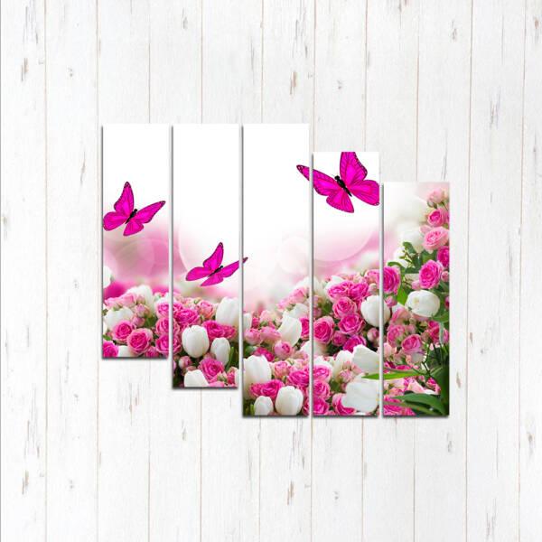 Модульная картина Цветы и бабочки
