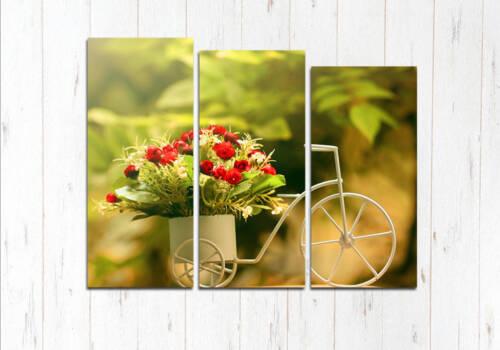 Модульная картина Велосипед цветов