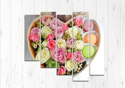 Модульная картина Сердце цветов