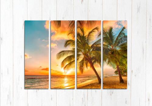 Модульная картина Яркий закат на острове