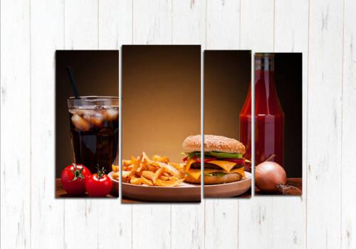 Модульная картина Огненный бургер
