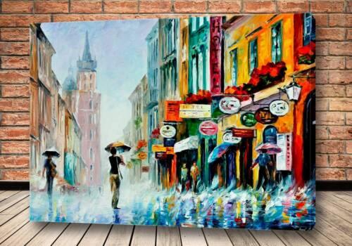 Картина дождливая улочка