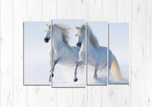 Модульная картина Два белых коня
