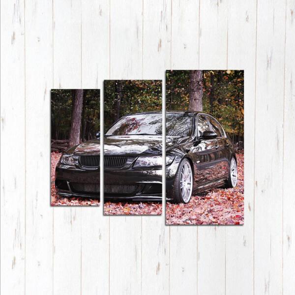 Модульная картина Чёрная BMW в розовых листьях