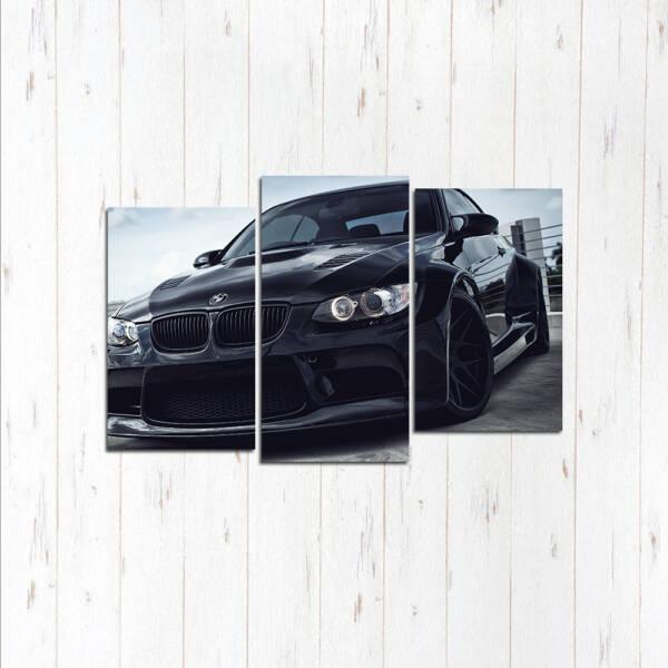 Модульная картина Чёрная гонка BMW