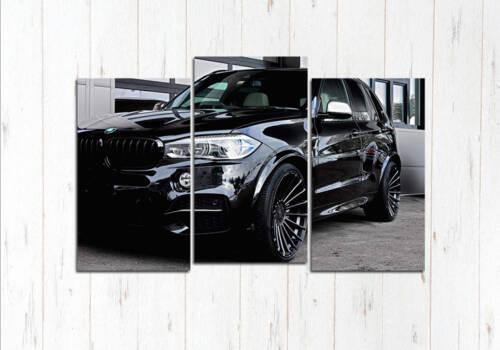 Модульная картина BMW X5 чёрная на чёрном