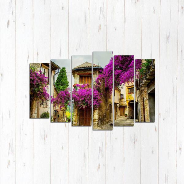 Модульная картина Дома в цветах