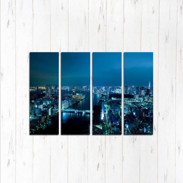Модульная картина Город в синих красках