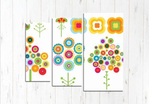 Модульная картина Веселые цветы