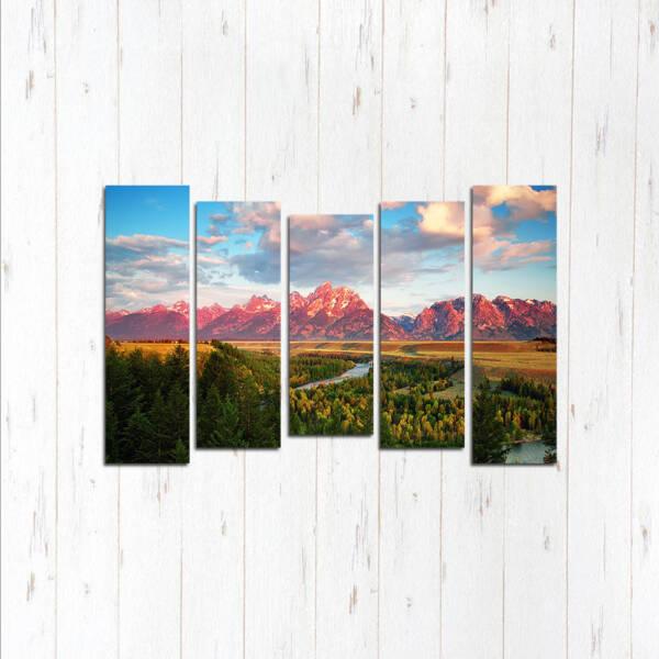 Модульная картина Красные горы