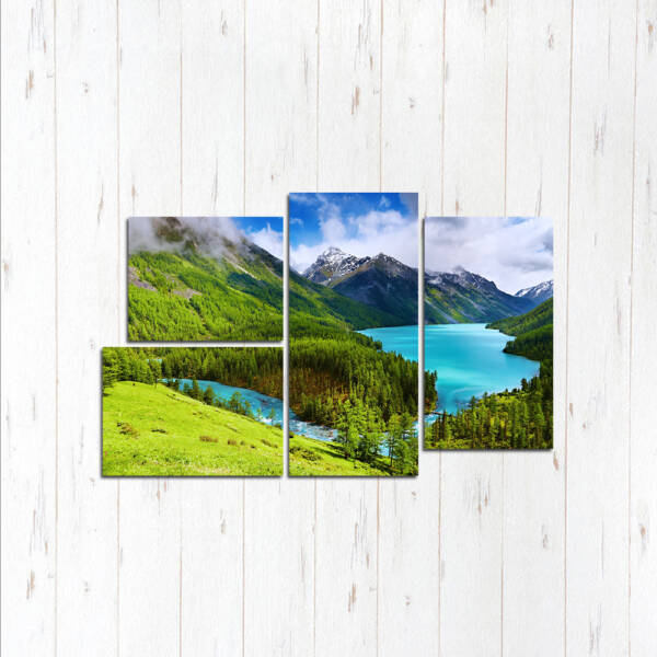 Модульная картина Озеро у подножья гор