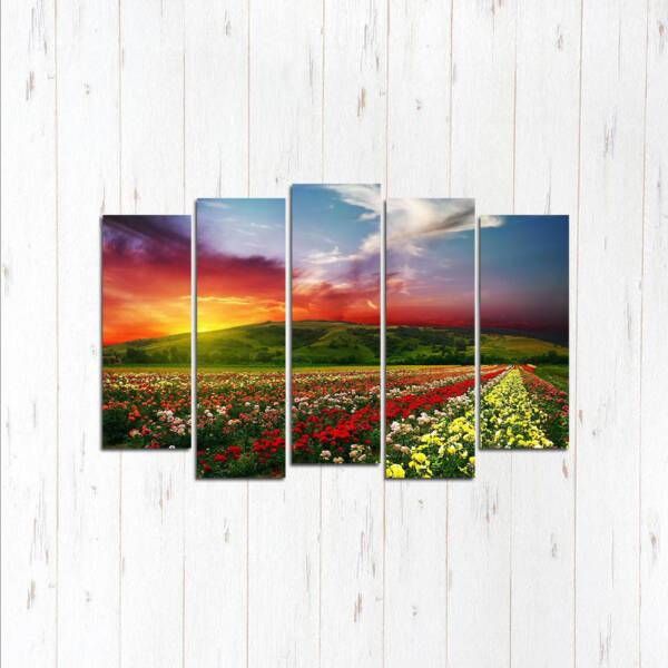 Модульная картина Цветочный закат