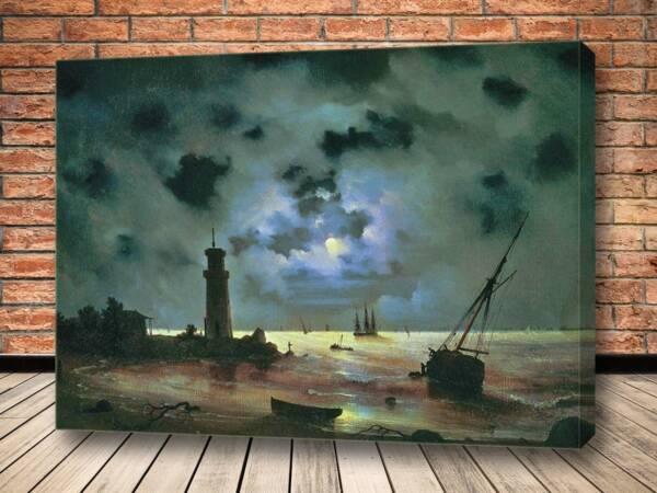 Картина Берег моря ночью. У маяка 1837