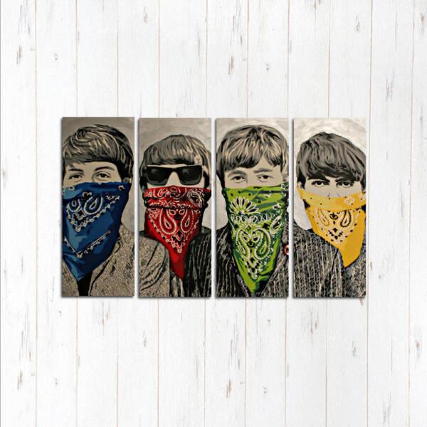 Модульная картина Битлз в масках