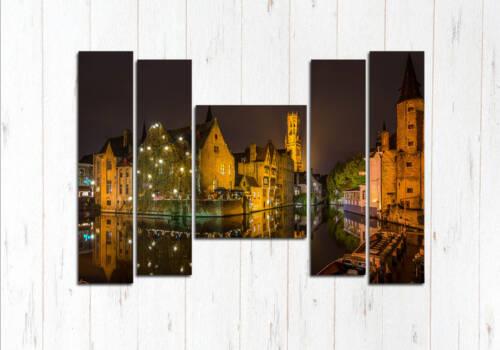 Модульная картина Брюгге в ночи