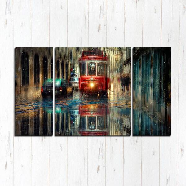 Модульная картина Вечерний трамвай