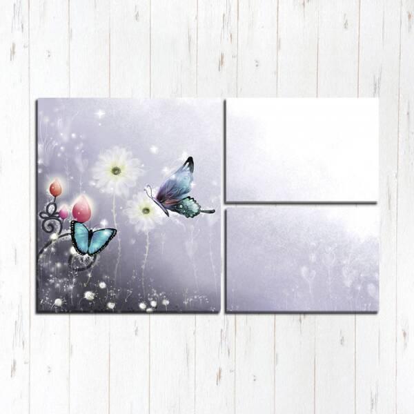 Модульная картина Бабочки на цветах