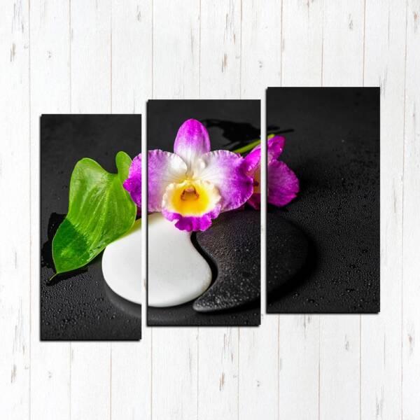 Модульная картина Инь Янь с цветком