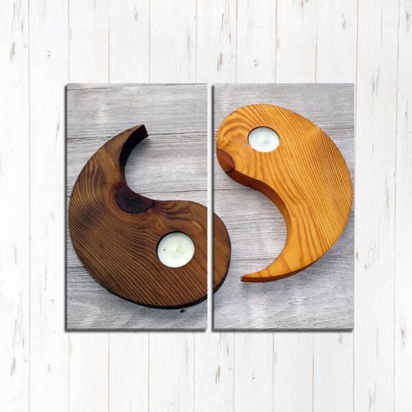 Модульная картина Инь янь из дерева