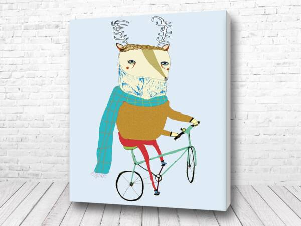 Олень на велосипеде