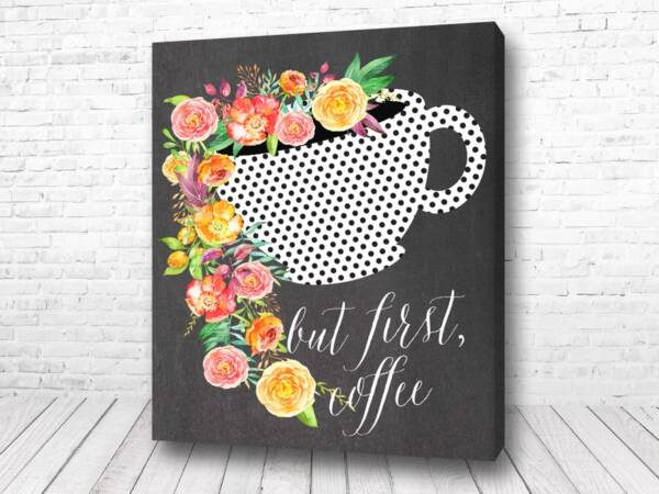 Постер Кофе с цветами