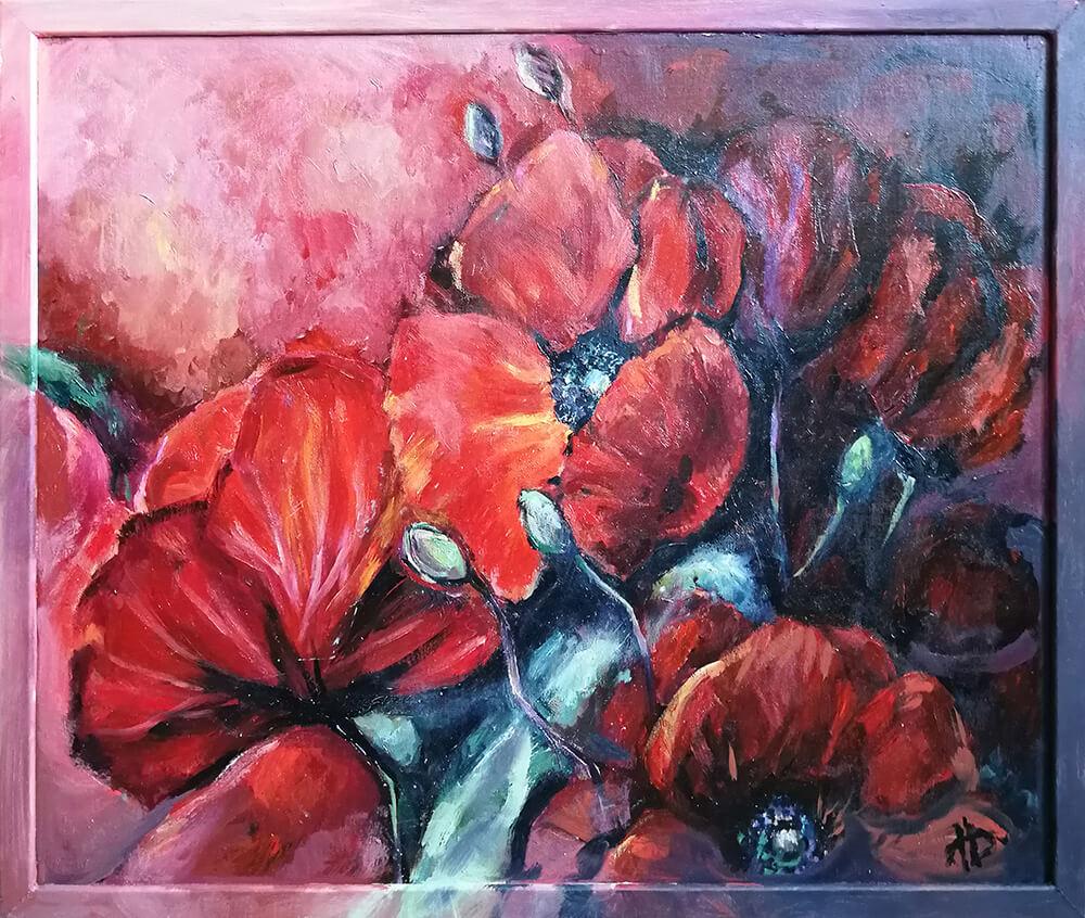 Картина цветов маслом на заказ