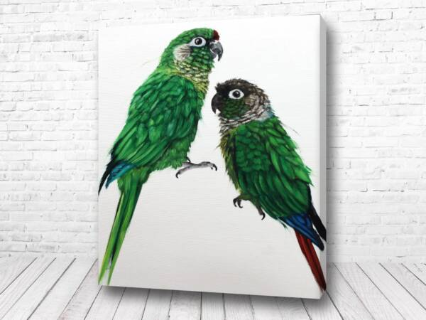 Два зелёных попугая