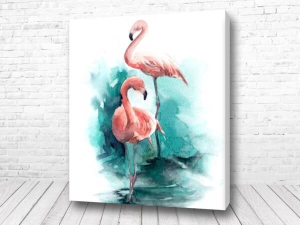 Постер Красивые фламинго акварель