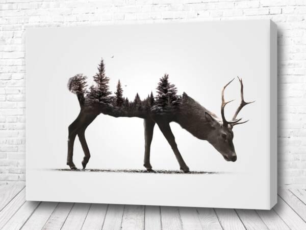 Постер Олень с лесом лофт