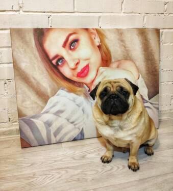 Картина из фотографии девушки на холсте