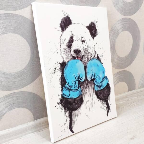 Постер панда боксёр на холсте 3