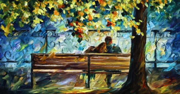 Картина Влюбленные на лавочке