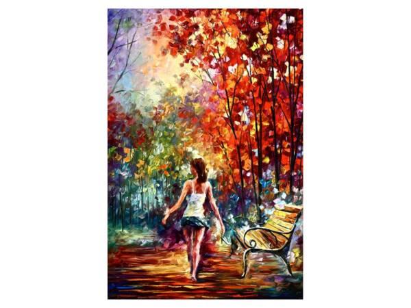 Картина девушка в парке