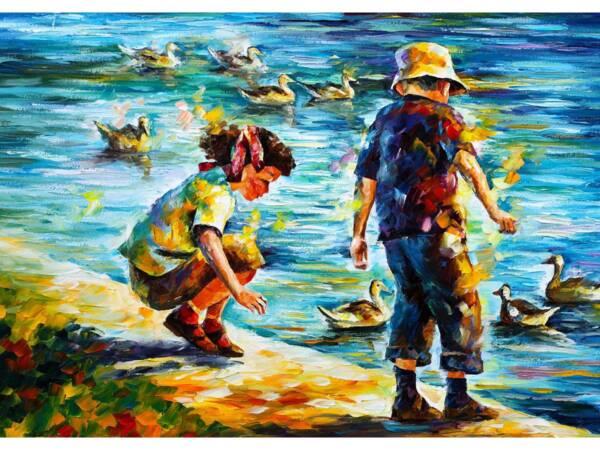 Картина Дети кормят уток