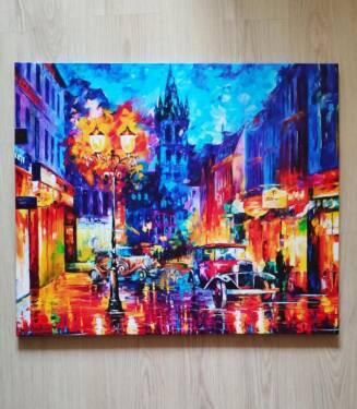 Картина Ночной город на холсте