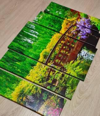Модульная картина мост с цветами