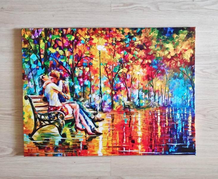 Картина Афремова поцелуй на лавочке